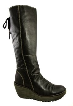 9e025b27aab9 £149.99  flylondon  boots  leatherboots http   www.kissshoe.co.uk boots fly- london-yust-dark-brown-leather-wedge-heel-knee-boots