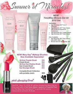 Mary Kay has launched a BRAND NEW line of cutting edge skin care that is proven to provide results in as little as 4 weeks! DELAY signs of aging DEFEND against harmful environmental toxins and DELIVER amazing results with TimeWise Miracle set 3D today! Contact me now or order online at www.marykay.com/kbrown89136