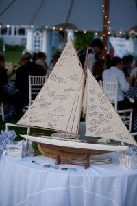 Cute guest book idea for a coastal, nautical, beach wedding to have guest sign a model sailboat. What a cute thing to display to remember by. Guest sign on the sail of the boat.