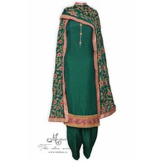 Traditional bottle green unstitched salwar suit complemented with heavy zari work dupatta-Mohan's the chic window
