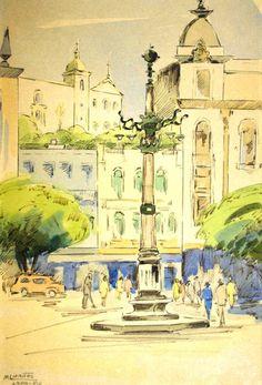 Largo da Lapa Marie Louise Mattos (França/Brasil, 1916) aquarela, nanquim sobre papel,  32 x 21 cm