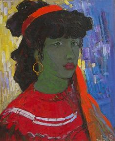 Gypsy lady/ Girl with Kerchief, 1988 - oil, 50 x 42 cm - Pashk Pervathi