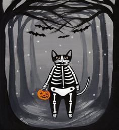 Skeleton Halloween Cat Original Folk Art Painting by KilkennycatArt on Etsy