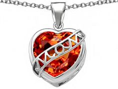 Star K Large Love Mom Mother Pendant Necklace with 15mm Heart Shape Simulated Mexican Orange Fire Opal