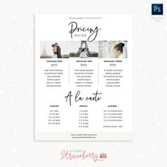 Pricing guide template for photographers Photography Price List, Photography Flyer, Quotes About Photography, Advertising Photography, Photoshop Photography, Photography Quotation, Photography Business, Photography Branding, Newborn Photography