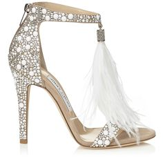 The Jimmy Choo VIOLA sandal with delicate white feather tassel and crystal embellishment