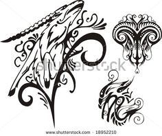 goat sketches   The horned ram and mountain goat. Fantasy Zodiac. Vector illustration ...