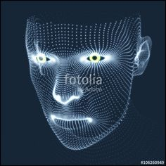 Vektor: Head of the Person from a 3d Grid. Human Head Model. Face Scanning. View of Human Head. 3D Geometric Face Design. 3d Covering Skin. Geometry Man Portrait. Can be used for Avatar, Science, Technology