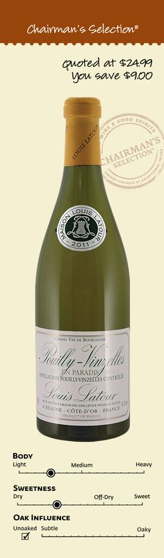 """Louis Latour Pouilly-Vinzelles En Paradis, Burgundy, France, 2011: """"Golden yellow in colour, this Pouilly-Vinzelles is characterised by its heady aromas of Williams pear and peppered mango. Round, fat and very full in the mouth with liquorice notes. Finishes with attractive balance."""" – Winemaker's notes, $15.99"""