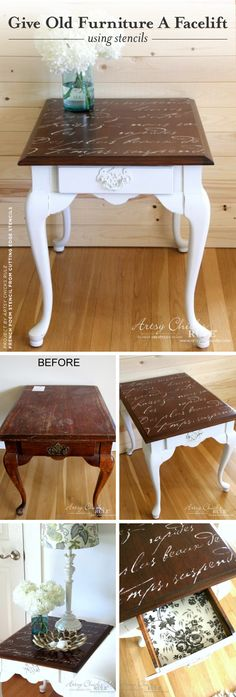 Cutting Edge Stencils shares a furniture tutorial for a DIY table makeover using the French Poem Stencil. http://www.cuttingedgestencils.com/french-poem-diy-craft-stencil-design.html