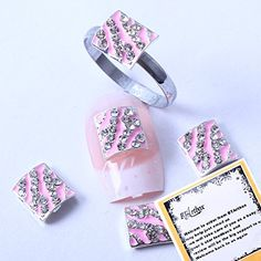 BTArtbox Stylish Pink Square Shaped Bling bling Crystal Rhinestone Nail Art Decorations Glitter Nail Tips Decals 10 pcs  Unique Ring -- Be sure to check out this awesome product.