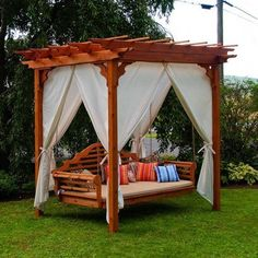 A&L Furniture Co. Cedar Pergola Arbor Swing Bed Set AL Furniture Co.