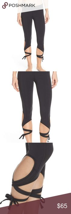 Hard to find, Free People Turnout Tie leggings Pictures coming!!!  Hit the dance studio in these performance leggings crafted from premium, maximum-stretch microfiber that supports and flatters your legs. A surplice waistband contours to your shape, while ties around the calves look as cute and graceful as pointe-shoe lacing.  Ties at calves. UPF (ultraviolet protection factor) protects against the sun's harmful rays. 45% nylon, 40% cotton, 15% spandex EUC Free People Pants Leggings