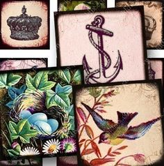 One-inch #printables for jewelry and mixed media crafts made with flowers and birds the 1700s and 1800s, Victorian-era postcards, love letters from the 1700s, and the most amazing 19th century engravings. The theme is Natures Royalty and includes crowns, birds, flowers, heralds, nests, bird cages, and so on. 756 by piddix.