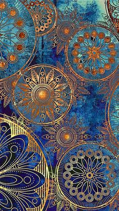 Ispirazioni in blu - Gorgeous mix of colours, textured, decorative print using circular structures.
