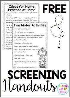 FREE Kindergarten screening handouts for parents!