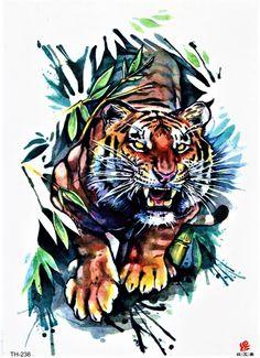Tiger Watercolor Jungle Wild Animal Hunt Colorful Temporary - Tiger Watercolor Jungle Wild Animal Hunt Colorful Temporary Body Fake Tattoo X Inch Th Add To Favorites Tiger Watercolor Jungle Wild Animal Hunt Colorful Temporary Body Fake Tattoo X Tiger Tattoo Sleeve, Lion Tattoo Sleeves, Fake Tattoos, Body Art Tattoos, Japanese Tiger Tattoo, Jungle Tattoo, Tiger Artwork, Tiger Drawing, Animal Drawings