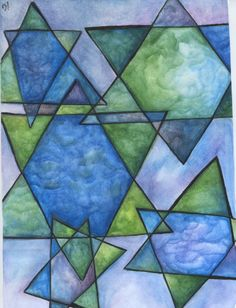 Art Print of Watercolor / Star of David Marbled by AshleyGrebeArt, $17.00