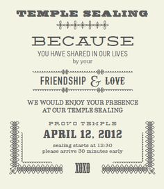 Lds Sealing Invitation Wording is great invitations example