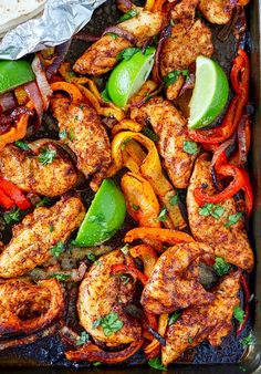 Sheet Pan Chicken Fajitas Recipe Chicken Fajita Recipe, Low Carb Chicken Recipes, Chicken Fajitas, Mexican Food Recipes, Dinner Recipes, Cooking Recipes, Healthy Recipes, Baked Chicken, Dinner Ideas