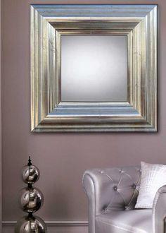 Speil, modell MATARO. Speil med ramme i tre og en meget spesiell overflate i børstet sølv.