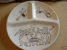 10 Vintage Barbecue BBQ Cook Out Plates 50's Theme | #38624836 Divided Plates, Bar B Q, Barbecue, Cooking, Tableware, Vintage, Kitchen, Dinnerware, Barrel Smoker
