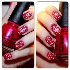 зимний маникюр) #nails #chinaglaze #snowflake #design