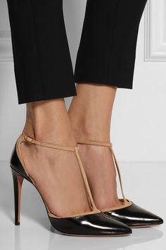 Heel measures approximately 105mm/ 4 inches Black glossed-leather Sand suede trims, pointed toe Buckle-fastening ankle strap