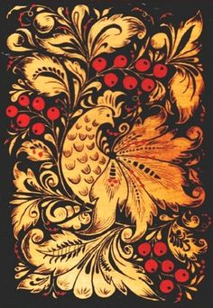 Folk Khokhloma painting from Russia. Floral pattern with a bird.