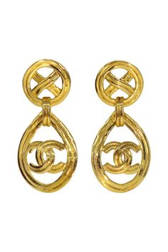 DECADES VINTAGE Vintage Chanel CC Gold Drop Earrings  RTR $125