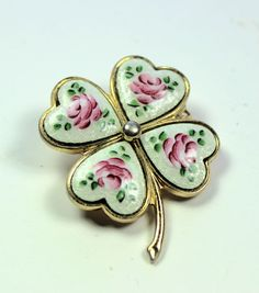 Guilloche Irish Heart Shape Four Leaf Clover Brooch/Pin Gemstone Brooch, Beaded Brooch, Vintage Pins, Vintage Jewelry, Unique Jewelry, St Patricks Day Crafts For Kids, Four Leaves, Flower Brooch, Brooch Pin