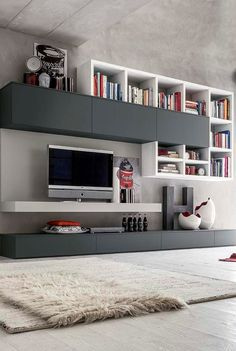 Easy Living - In House Designs - Kitchen Furniture - Wardrobes - Doors - Accessories - Patra Living Room Tv Unit Designs, Living Room Wall Units, Living Room Cabinets, Living Room Furniture, Tv Wall Design, Design Case, House Design, Living Room Built Ins, Bookshelves In Living Room