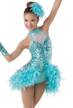 Weissman® | Sequin Mesh Leotard with Bustle