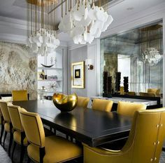 A dining room with mood & attitude for days and surprising mustard upholstery