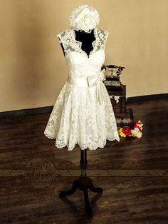 Knee Length Lace Wedding Dress Features V-Cut van LaceMarry op Etsy