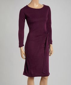 Another great find on #zulily! Joy Mark Purple Three-Quarter Sleeve Sweater Dress by Joy Mark #zulilyfinds