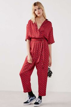 Urban Outfitters Bezel Red Wrap Belted Jumpsuit   Urban Outfitters