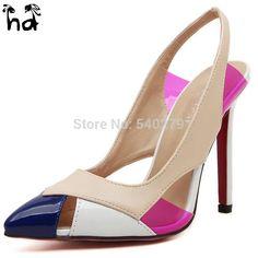 2016 Ladies Fashion Brand Sexy Red Bottom High Heels Women Pumps Patchwork Pointed Toe Stiletto Heels Designer Shoes Woman