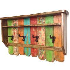 Entryway Wood Shelf Coat Rack / Rustic Rainbow Coat Rack / Reclaimed Wood Shelves / Cast Iron Coat Hooks / Bohemian Decor Blue green by RiversideStudioON on Etsy https://www.etsy.com/listing/267575061/entryway-wood-shelf-coat-rack-rustic