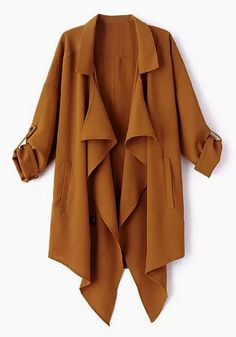 This slouchy trench coat is a classic wardrobe staple you can wear year after year. It has special detailing such as drapey notched collar and rolled up sleeves.