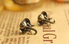 Antique Brass Plated Elephant Stud Earrings. 0.25€ on AliExpress.com