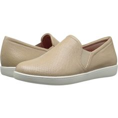 Trotters Americana (Nude Soft Leather) Women's Slip on  Shoes ($45) ❤ liked on Polyvore featuring shoes, flats, beige, beige flats, trotters shoes, arch support shoes, nude flats and slip resistant shoes