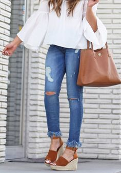 #spring #outfits White Ruffle Top & Ripped Skinny Jeans & Brown Leather  Tote Bag