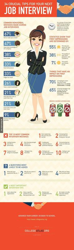 Interview tips that will help you land your dream gig—SELF magazine swears it. This is a great infographic that condenses 34 interview tips into a really cool image. Check it out before your next job search or interview. Job Interview Questions, Job Interview Tips, Job Interviews, Outfits For Job Interview, Makeup For Job Interview, Hairstyles For Job Interview, Preparing For An Interview, Teacher Interview Outfit, Interview Preparation