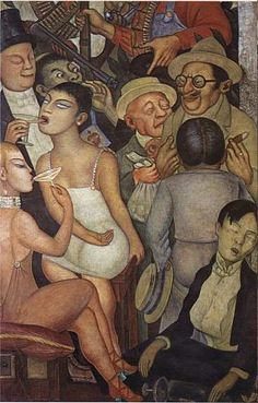 The Night of the Rich, by Diego Rivera, was completed during the Mexican Revolution in 1928 as a fresco.