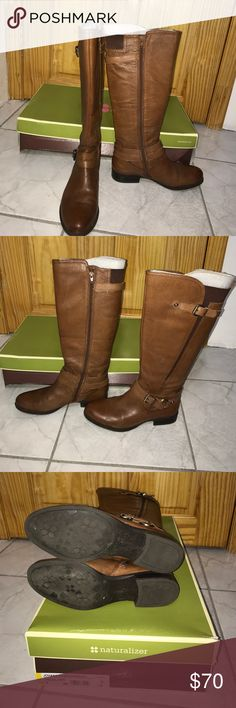 Naturalizer jovana boots Naturalizer jovana brown boots. Zipper on the inner side of boots. Buckles to the top boot and ankle. Worn once and still in great condition. Comes with original box. Naturalizer Shoes Winter & Rain Boots