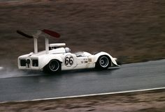 With the 2H far from ready for the 1968 season, Hall updated the 2G. Running a big block Chevy, tire width was substantially increased over the previous year. To accommodate those tires on the tiny Chaparral, Hall had to add huge fender flairs to cover them. It looks to me that this configuration will dramatically slow down a rear tire change, should one of them go down. Author unknown.