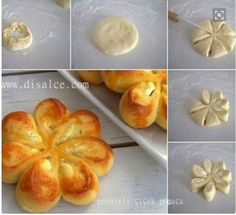 PEYNİRLİ ÇİÇEK POĞAÇA Note to self - not sure what this says - but the idea in the pic looks really easy. could use for savory or sweet. (herbed potatoes/cheese or sweetened cream cheese/fruit combos) ♥ Pastry Recipes, Cooking Recipes, Cooking Cake, Easy Cooking, Herbed Potatoes, Bread Shaping, Food Decoration, Turkish Recipes, Snacks