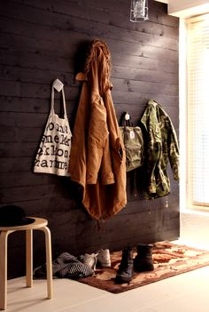 Kotipalapeli: Hallway after the renovation Beautiful Space, Beautiful Homes, Hall Stand, Marimekko, Wood Wall, Blanket, House Styles, Inspiration, Future