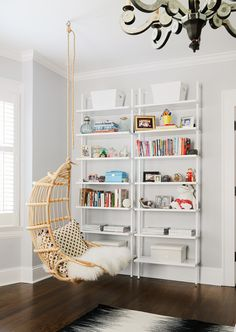 Small library and reading nook with hanging chair